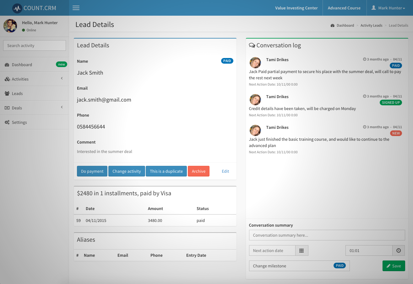 Count CRM system screenshot